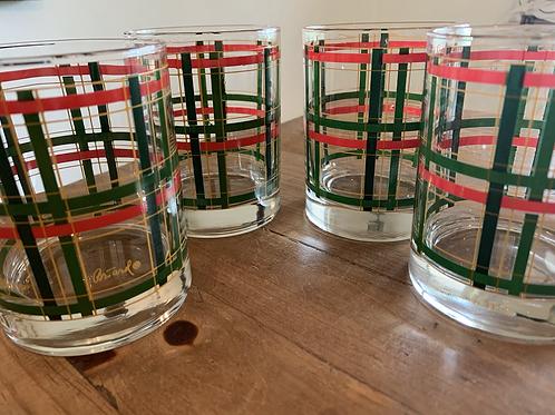 Vintage Georges Briard Tartan double rock glasses