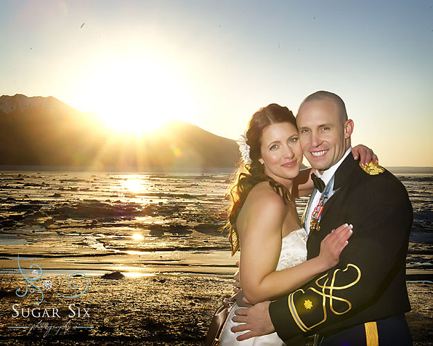 bride and groom on turnagain arm by anchorage alaska