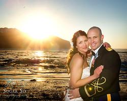 bride and groom on turnagain arm by anchorage alaska
