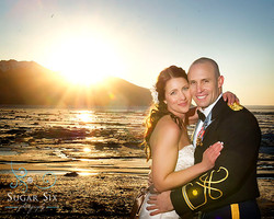 bride and groom on turnagain arm by anch