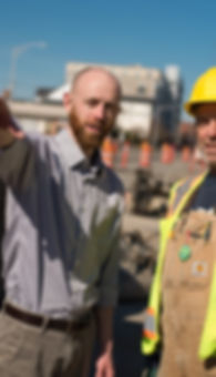Tyler Verda with construction worker