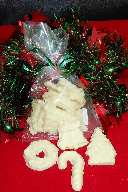 WHITE CHOCOLATE CHRISTMAS FIGURES/12 PER BAG