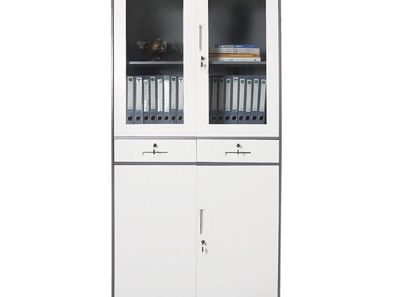 High Swing Glass& Metal Door Cupboard w/ Two Drawers