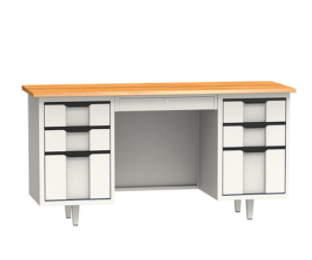 office desk with three drawers on each side