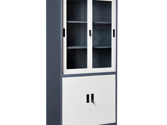 High Swing Glass& Metal Door Cupboard w/ Three Drawers