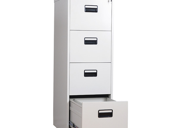 white vertical 4-drawer file cabinet