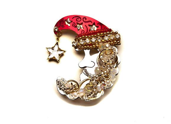 Santa Moon Pin