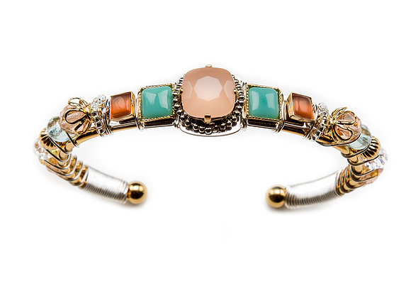 Stepping Stones Cuff-Peach/Turquoise