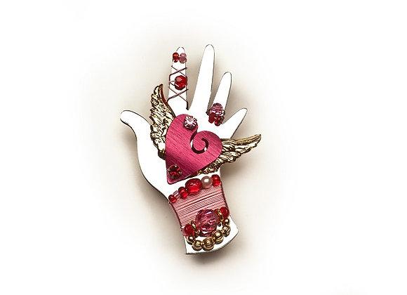 Healing Heart & Hand Pin-Rose