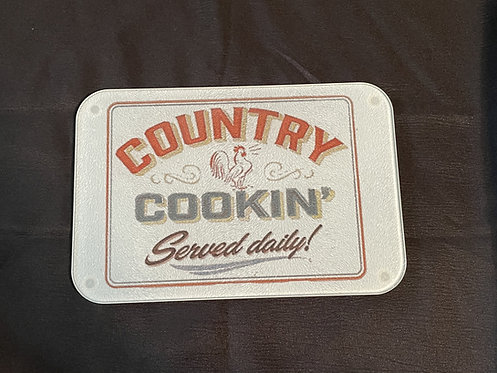 Country Cookin' glass cutting board