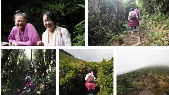 Nina and Yuko on the way to Mt. Taranaki