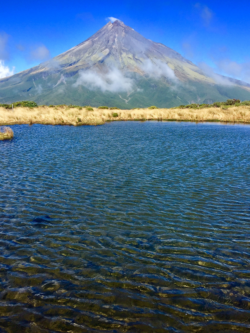 Mt. Taranaki  and Puokai Lake ~ New Zealand