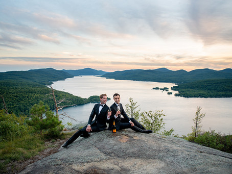 JP & Steven's Adirondack Mountaintop Pre-Elopement Engagement Photos, Lake George, NY