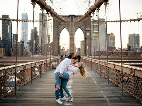 Ashley & Zak's Brooklyn Bridge Engagement Session, NYC