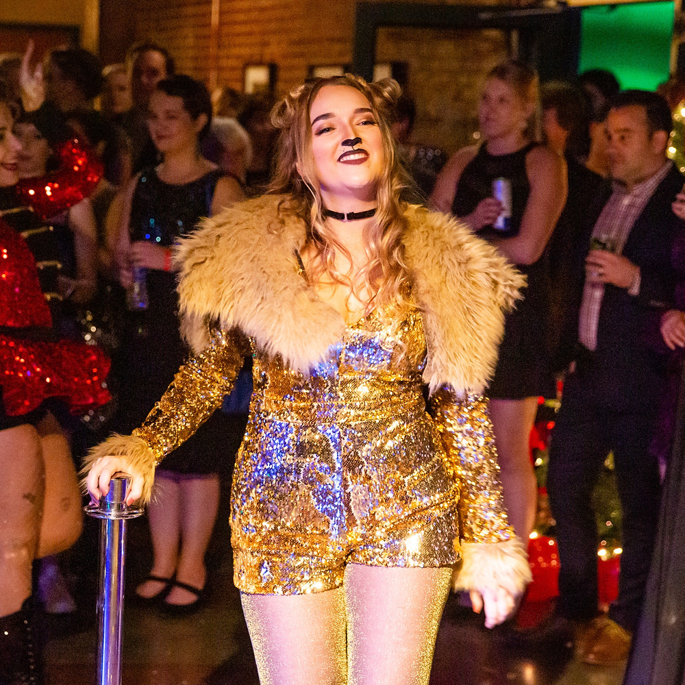 Alexandria Bagwell as the Circus Lion in The Market Theatre's 2020 New Years Eve Event