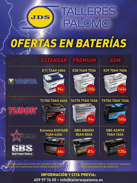 Ofertas en numerosas marcas de baterías