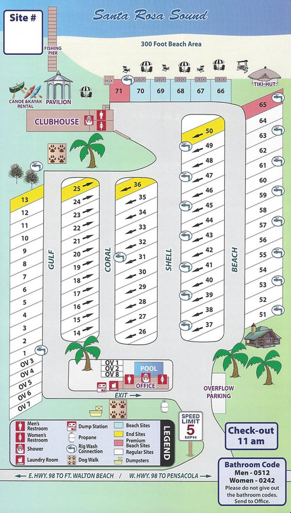 Emerald Beach RV Park Map