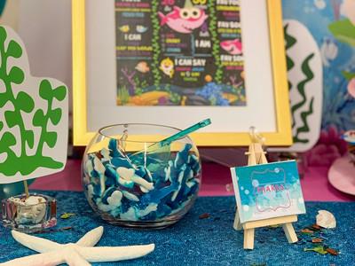 Baby Shark 1st Birthday Milestone Board