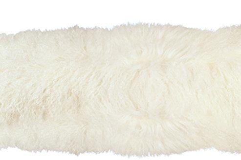 Cream mohair bolster pillow