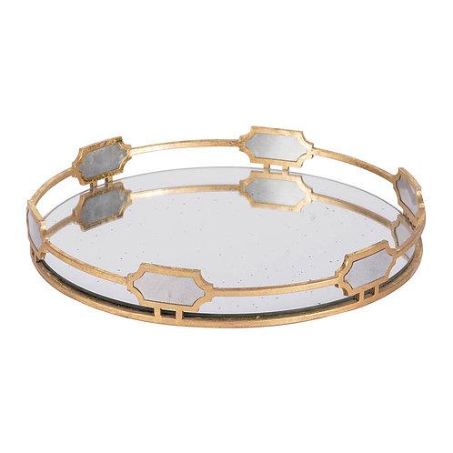 gold round mirror tray