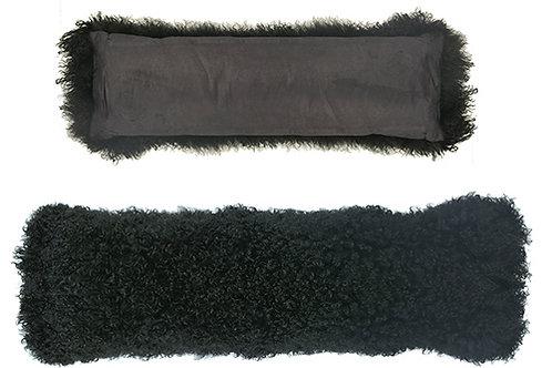 Black mohair bolster pillow