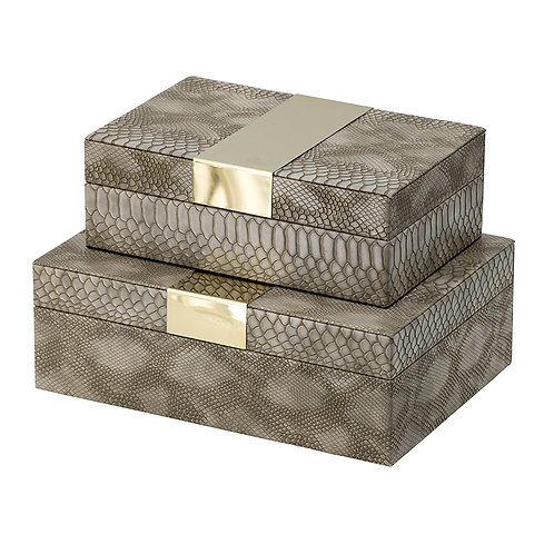 Set of 2 boxes with gold accent