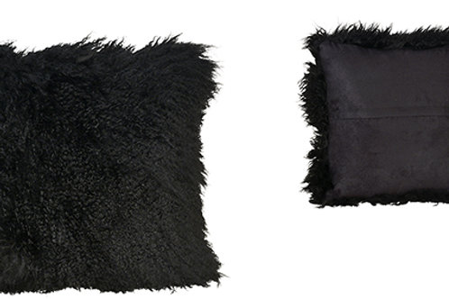 Black mohair pillow