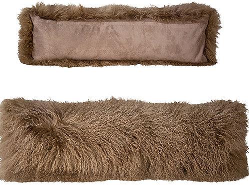 Brown mohair bolster pillow