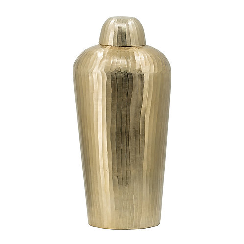 Brushed bronze vase w/lid