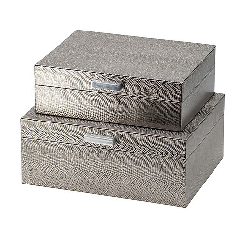 set of 2 silver finish boxes