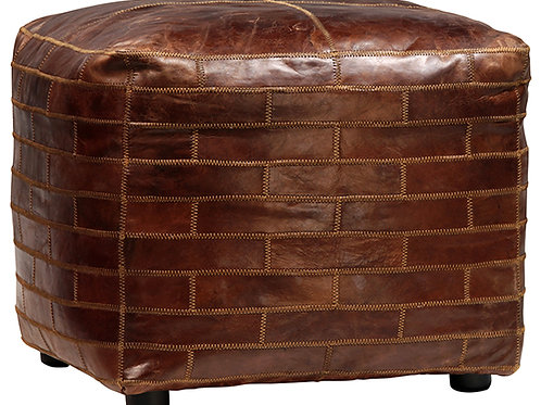 Brown leather patchwork ottoman