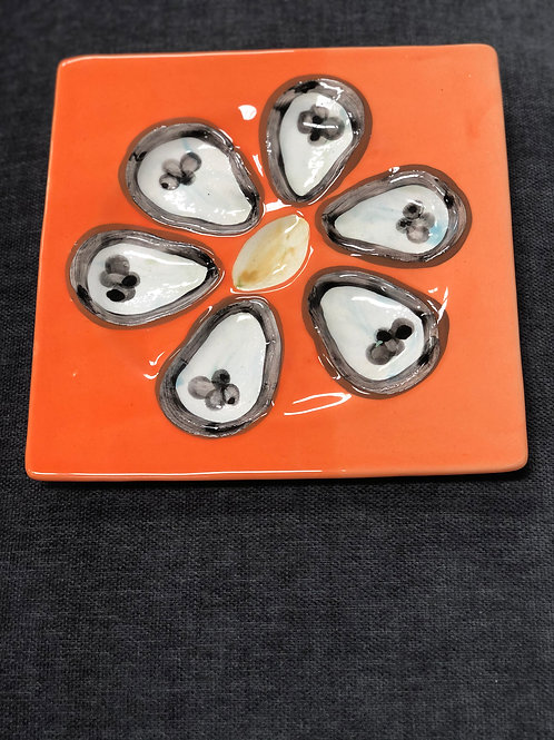 HAND PAINTED OYSTER PLATE