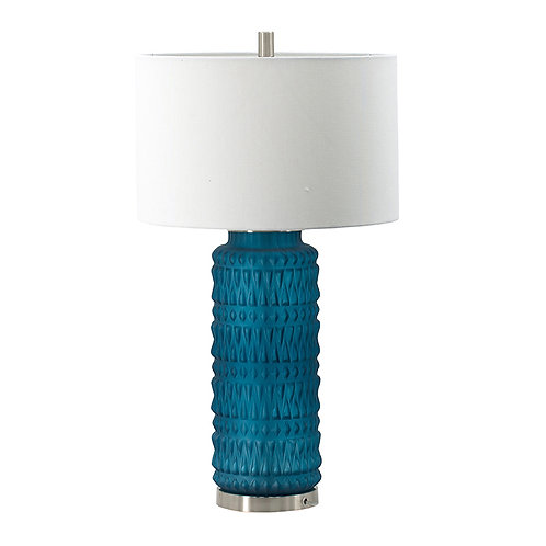 Teal diamond textured lamp