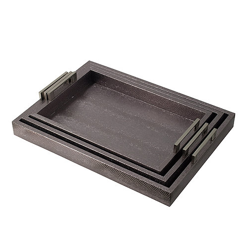 Set of 3 silver finish trays