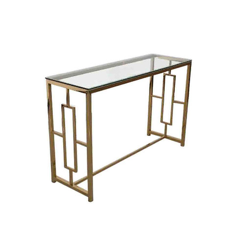 GOLD AND GLASS CONSOLE TABLE