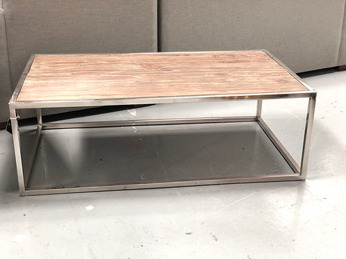 stainless and reclaimed wood coffee table