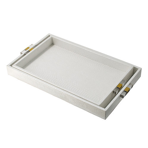 Set of 2 white trays w/acrylic handles