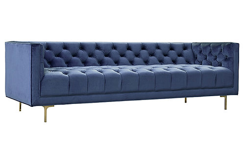 blue sofa with metal base