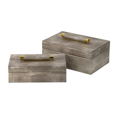 Set of 2 gold finish boxes