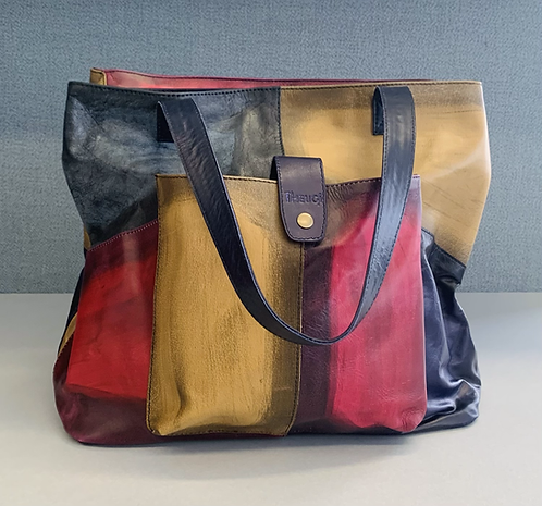 Leather Patchwork Tote Bag