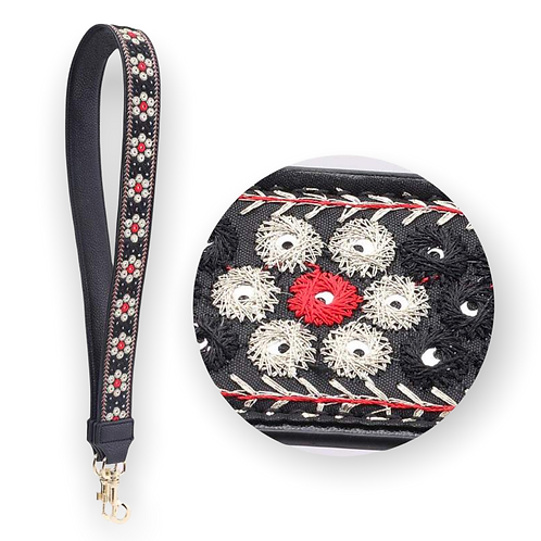 Embroidered Purse Strap black & red