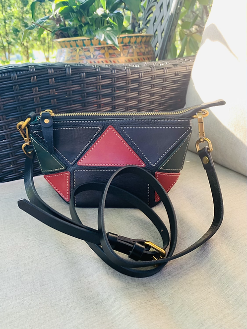 "Crossbody Bag  ""Triangle -Red, Black & Green"""
