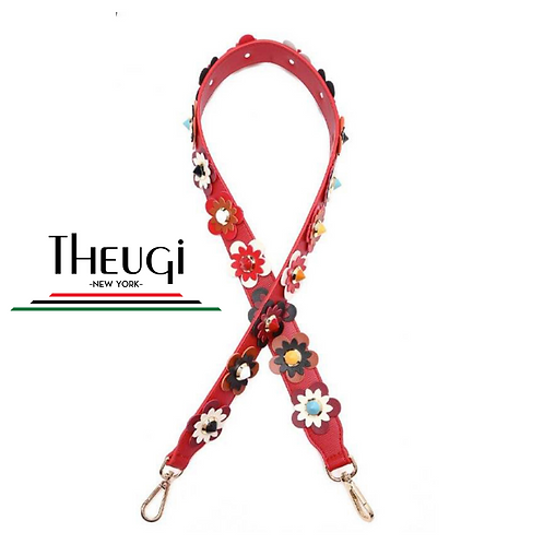 Flower Power Purse Strap Red/Color Flowers