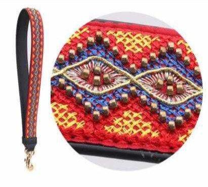 Embroidered Purse Strap orange, yellow, blue