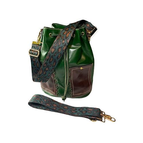 Purse Strap Leopard Green & Tan