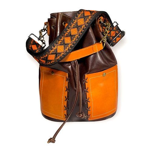 Purse Strap- orange & brown