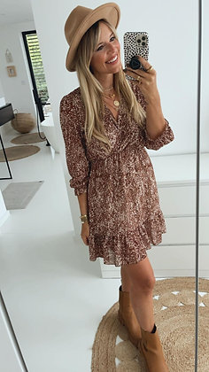 Kleid - braun/weiß Gummizug