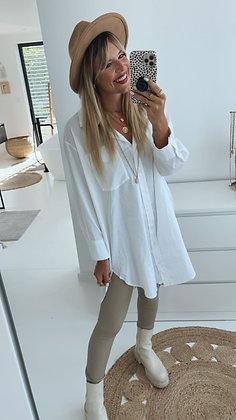 Hemdbluse - lang weiß
