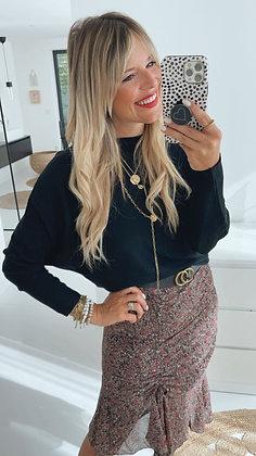 Pullover - schwarz Fledermausarm