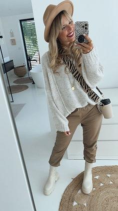 Pullover - beige/grau
